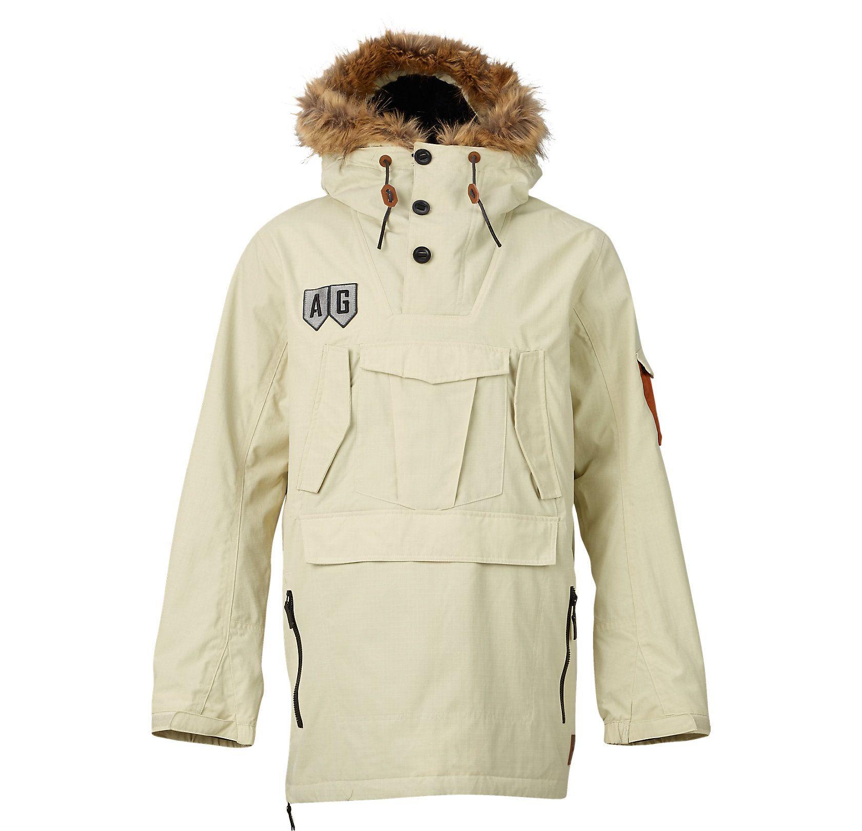 Mens snowboard jacket with fur hood