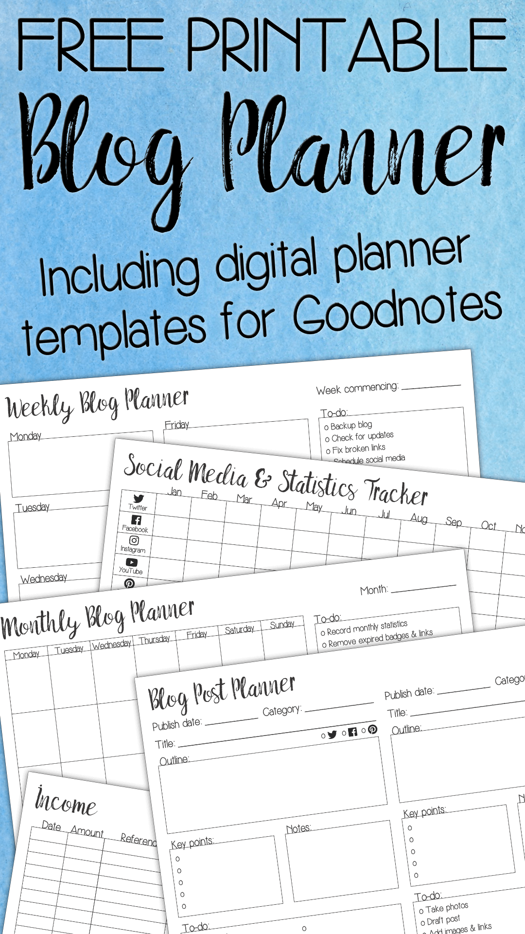 free printable blog planner inc digital goodnotes templates