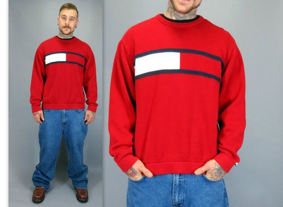 Vintage 90s Tommy Hilfiger Sweater Red White Blue Mens Classic Knit Pullover  Old School Hip Hop Big Box Logo Tommy Jeans Baggy Slouchy Oversized XL by  ... 4a3e35b49
