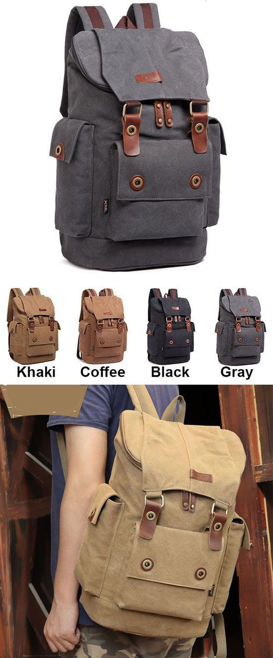 College Book Bags · Which color do you like  Retro Travel Rucksack Splicing  Leather Belts School Laptop Men s Canvas 68fce4812c