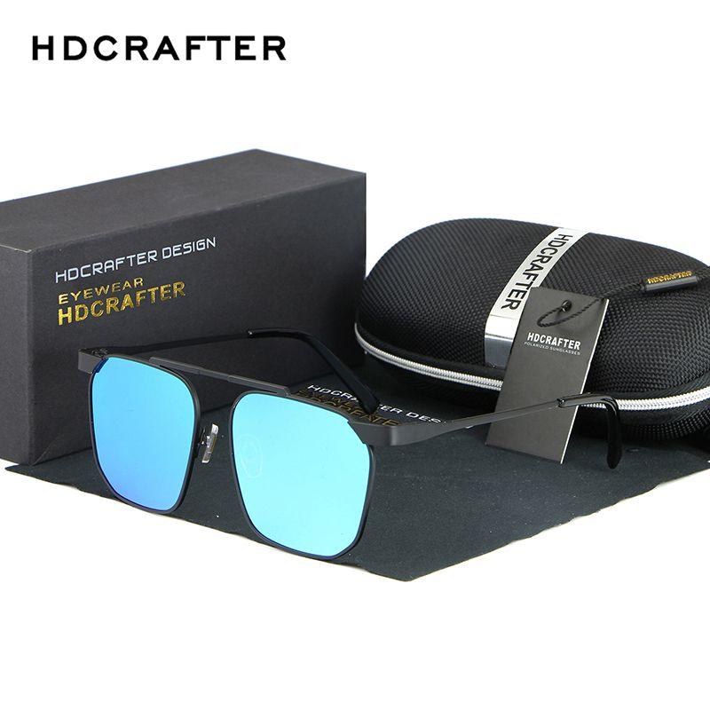 792758b4ecd HDCRAFTER Brand Designer Sunglasses Men s Polarized Coating Mirror Eyewear  Accessories Square Driving Sun Glaases