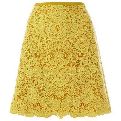 Karen Millen Beautiful Cotton Lace Skirt Yellow... | StyleCaster