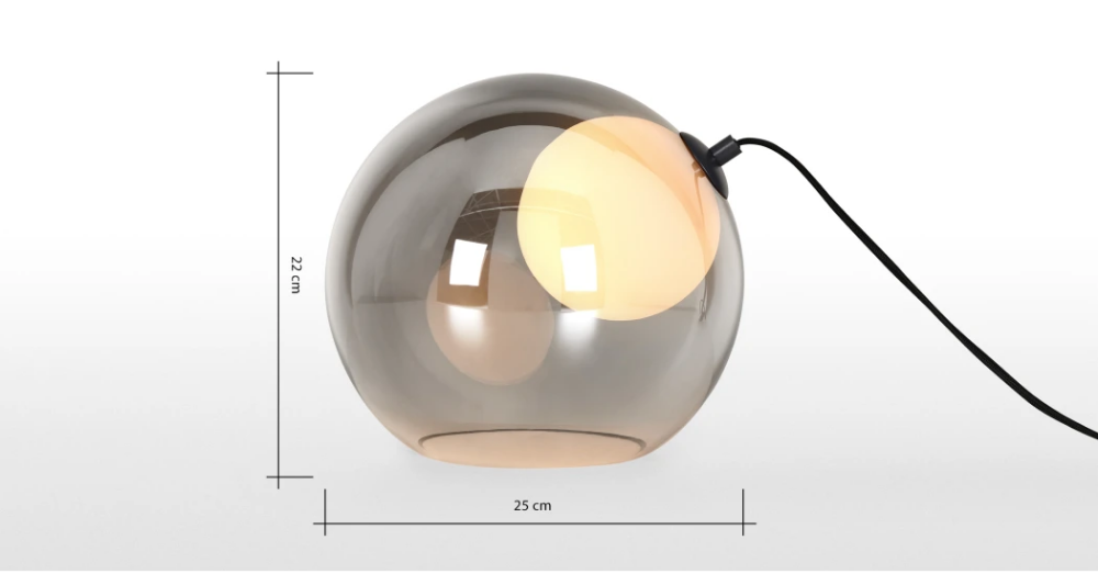 Lámpara mesa ahumado opalino de LED Masakocristal v0w8nmNO