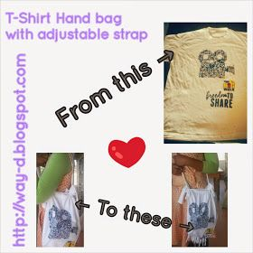 No-sew bag made with a t-shirt. Free tutorial on my blog.