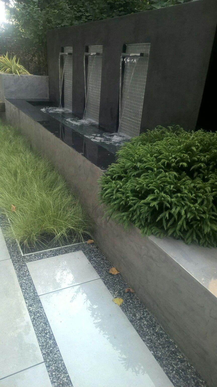 Wasserfall, Modernes Gartendesign, Wasserspiel