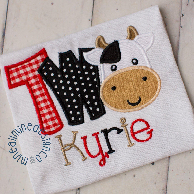Boys Farm Cow Barnyard Personalized Birthday Shirt 2nd Birthday