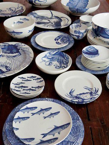 Crabs (BLU) 8.5\  Dessert/Salad Plates Mixed Boxed Set/4 - & Crabs (BLU) 8.5\