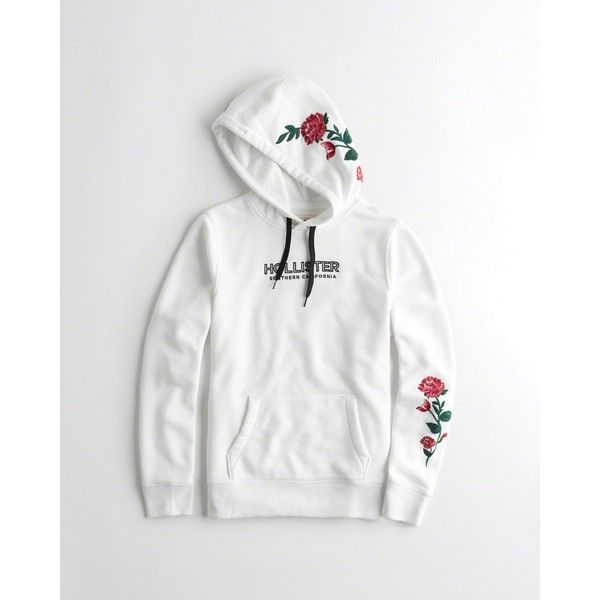 c2d28d1f7 Hollister Rose Embroidered Graphic Hoodie ($50) ❤ liked on Polyvore  featuring men's fashion, men's clothing, men's hoodies, white, mens  sweatshirts and ...