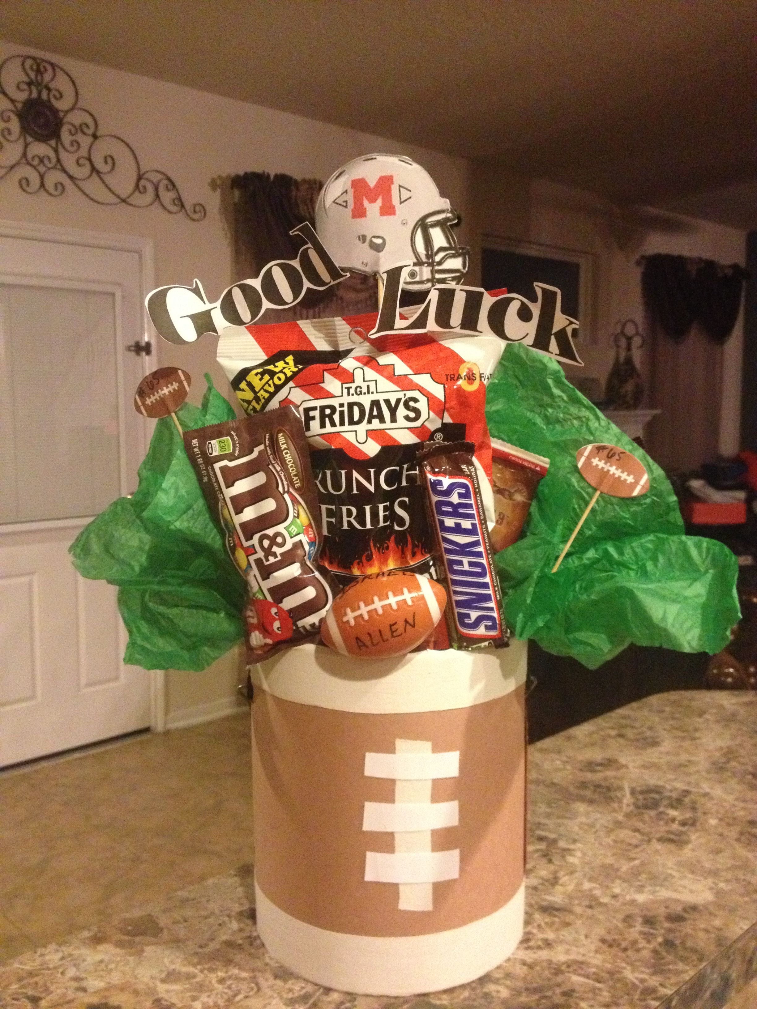 Varsity Football Player Gift Idea I Made This Basket For My Daughters Friend It Was