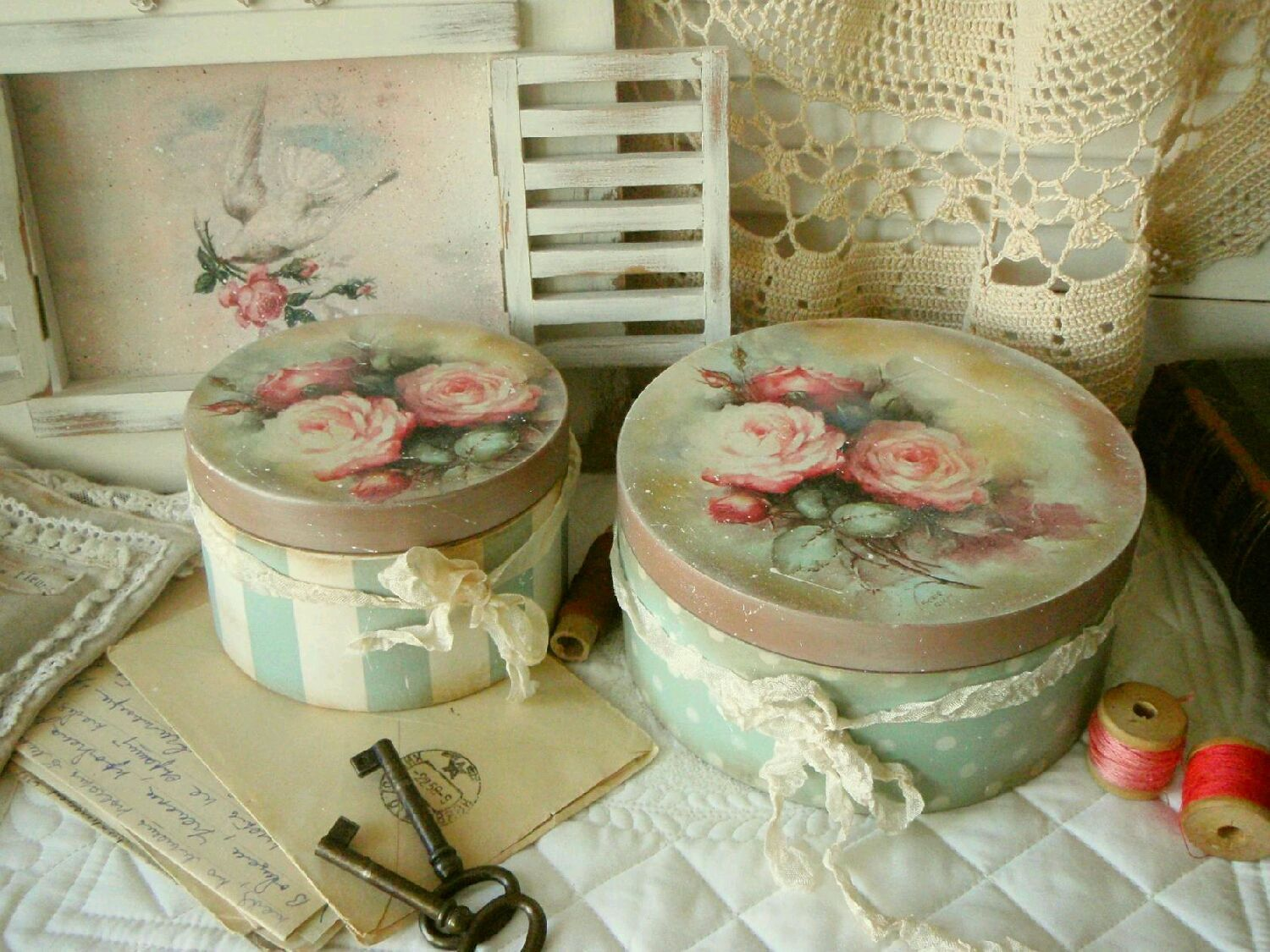 decoupage using wallpaper paste; Christmas sweet tins; and old birthday cards