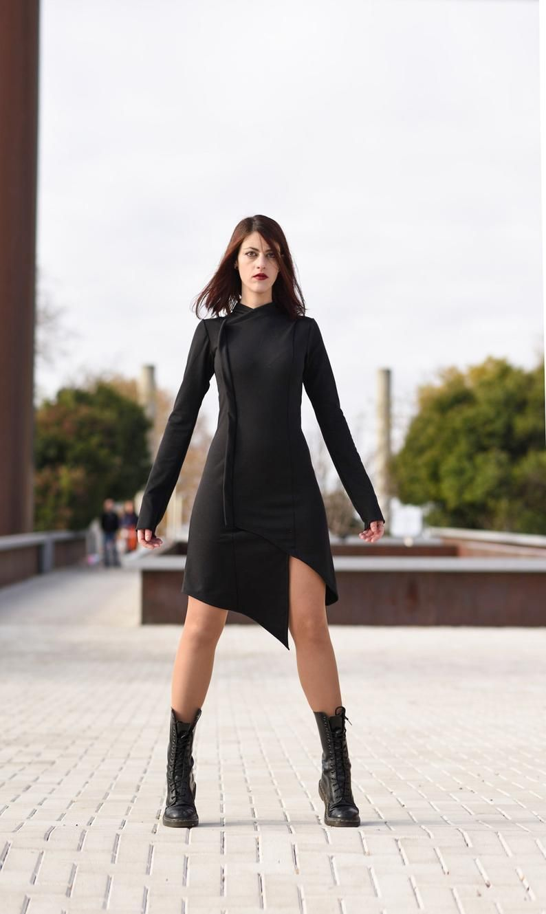 Black Futuristic Cheongsam Dress Black Sleeve Asymmetric Etsy Cheongsam Dress Asymetrical Dress Dresses [ 1329 x 794 Pixel ]
