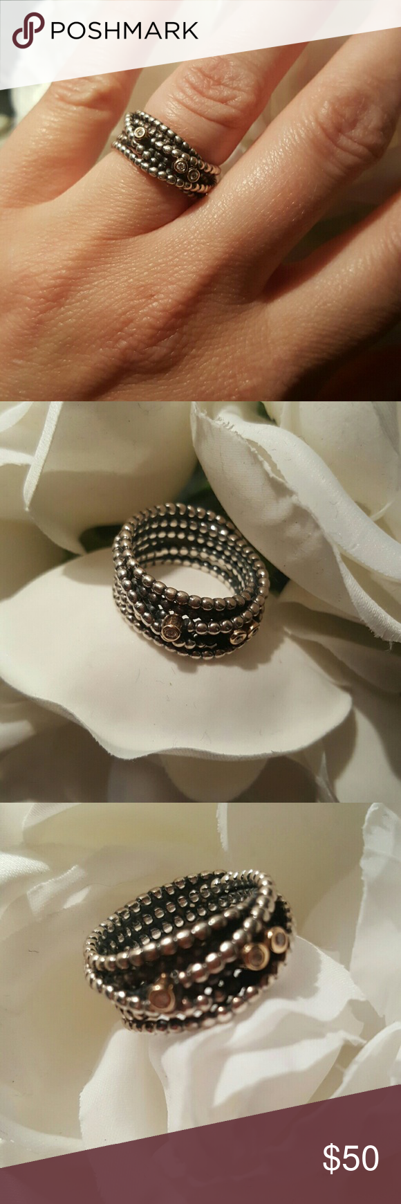 Pandora Ring Silver wrap-look ring with 14k gold and cubic zirconia accents. Eye candy for your hand! Pandora Jewelry Rings