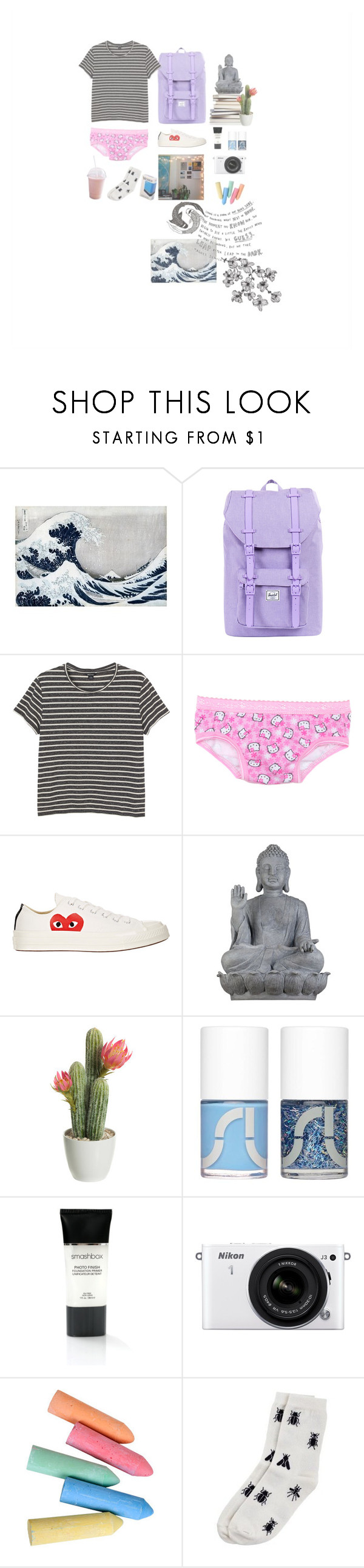"""""""Vihor"""" by teodora-teddy ❤ liked on Polyvore featuring Herschel Supply Co., Monki, Hello Kitty, Play Comme des Garçons, Universal Lighting and Decor, Uslu Airlines, Smashbox, Nikon, women's clothing and women's fashion"""