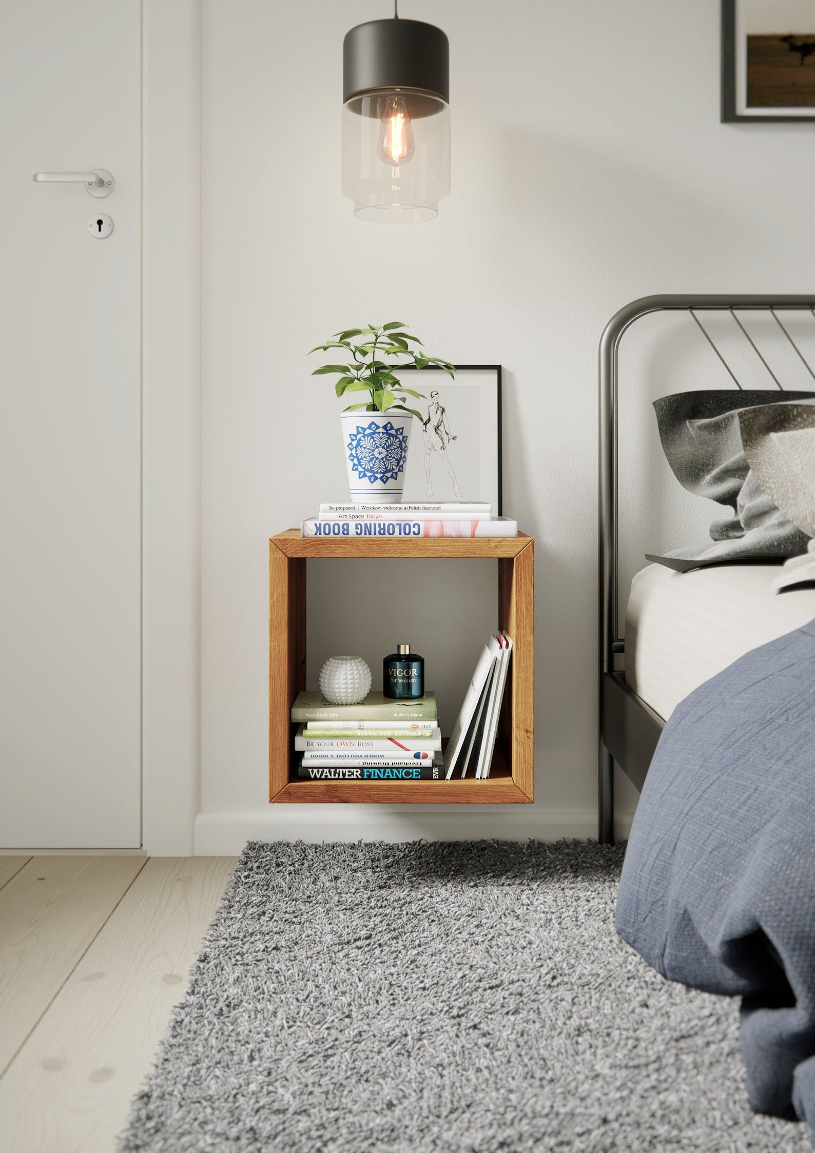 Floating Wall Shelf Box Shelves Solid Oak Bedside Table Etsy Floating Cube Shelves Bedroom Night Stands Wooden Wall Shelves