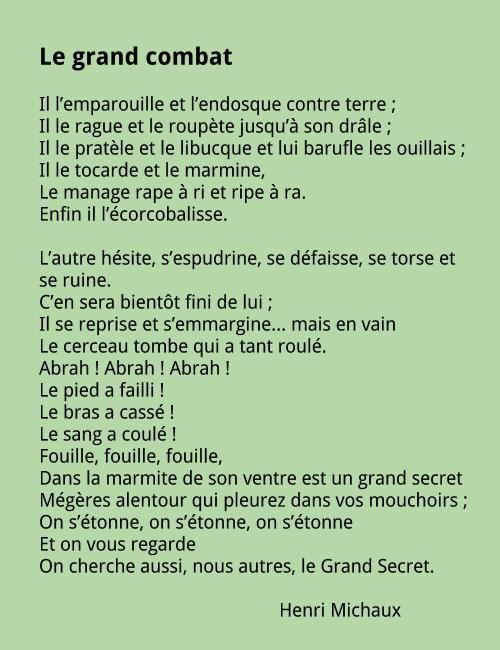 Henri Michaux Le Grand Combat : henri, michaux, grand, combat, Henri, Michaux, Grand, Combat, Poeme,, Grand,