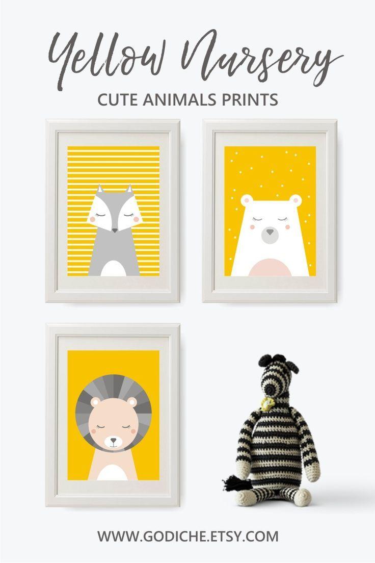 Yellow and grey wall art bundle, Baby nursery prints, Yellow and ...