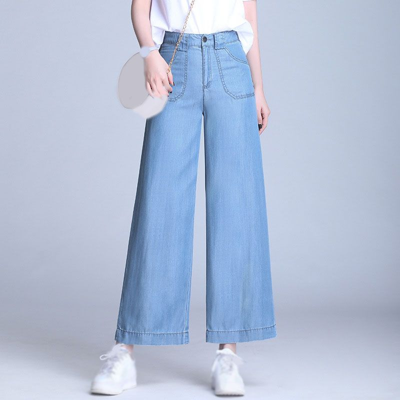 Summer Spring Women Wide Leg Jeans Loose High Waist Plus Size Jeans Wide Leg Pants Fashion Ladies Straight Denim Pants Wide Leg Jeans Outfit Fashion Pants Wide Pants Outfit
