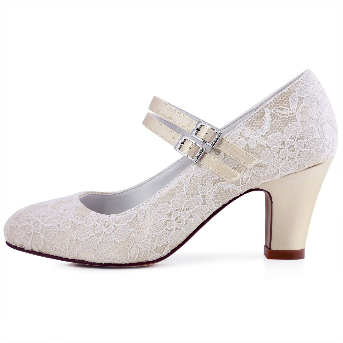 f4eace00021f ElegantPark HC1701 Women Pumps Chunky Heel Mary Jane Closed Toe Lace Bridal  Wedding Shoes Champagne US