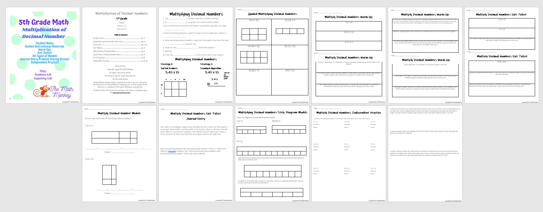 5th Grade Math Multiplication of Decimal Numbers 5.3D, 5