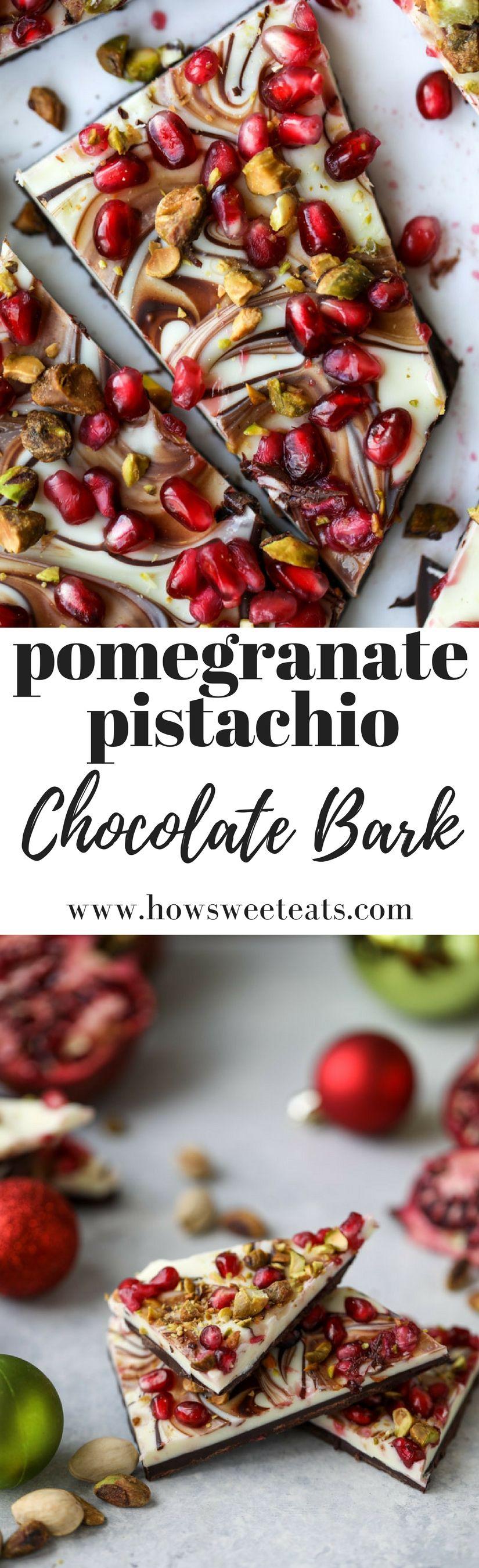 Pomegranate Pistachio Swirled Chocolate Bark