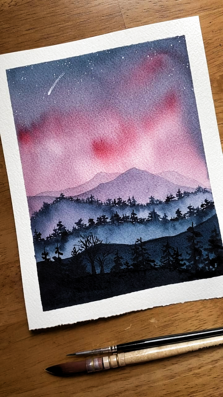 Watercolor mountain sunset -  Learn to paint watercolor mountains like me in my Skillshare classes! Perfect for beginners, and th - #IndianPaintings #mountain #OilPaintings #Paintings #sunset #watercolor