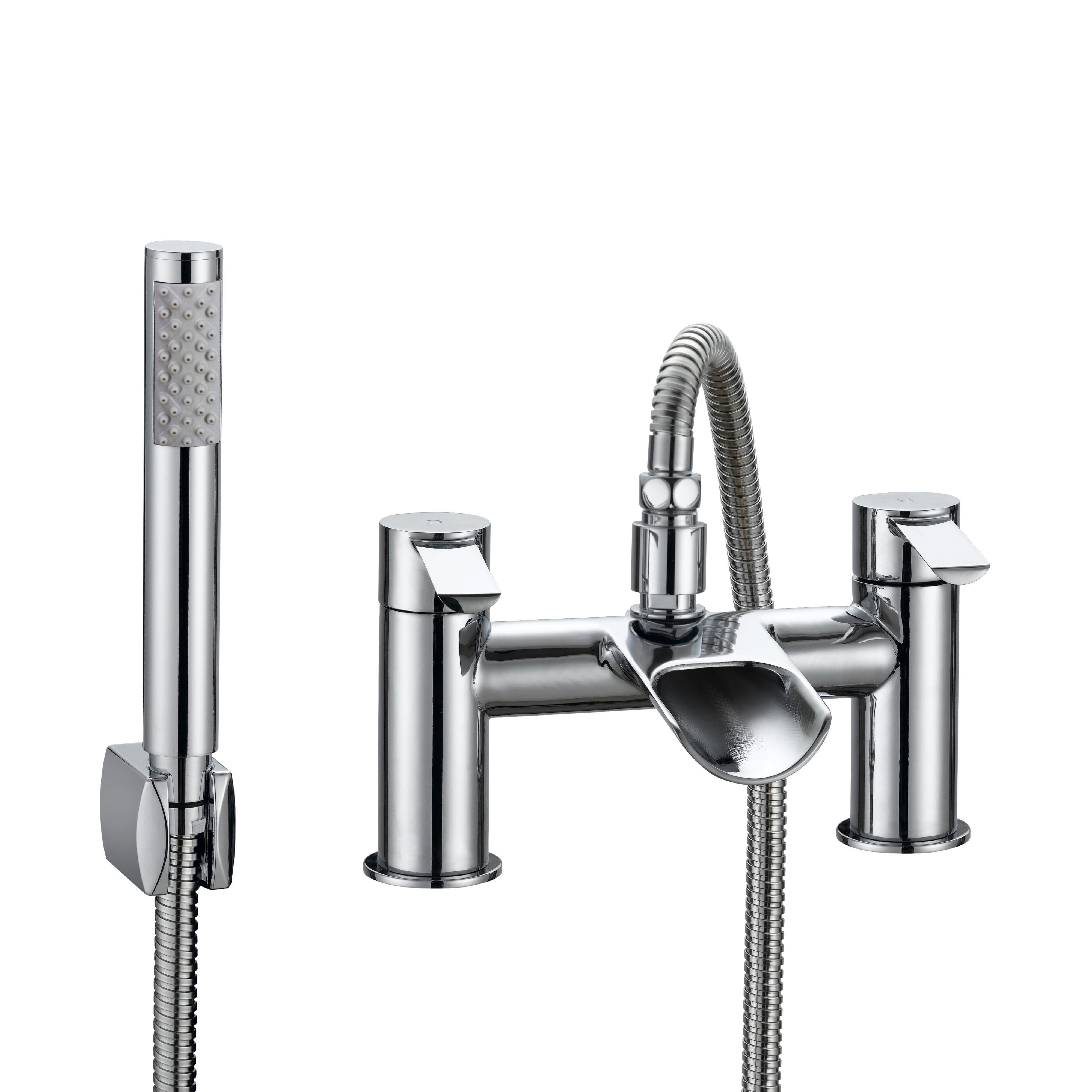 Cooke & Lewis Bamboo Chrome Bath shower mixer tap | Bath shower ...