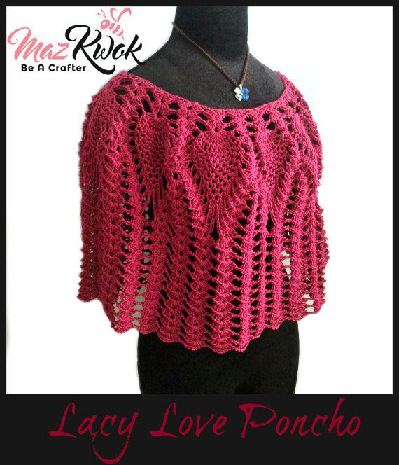 This is a pdf crochet pattern, NOT a finished item Bridal lacy poncho pattern. Skill level: Experienced Written pattern in US crochet terms. Available sizes: S, M, L, XL, 2XL, 3XL in this pdf file. Materials: 3.5 mm crochet hook Sport weight yarn ( 555 to 1110 yards depends on sizes )