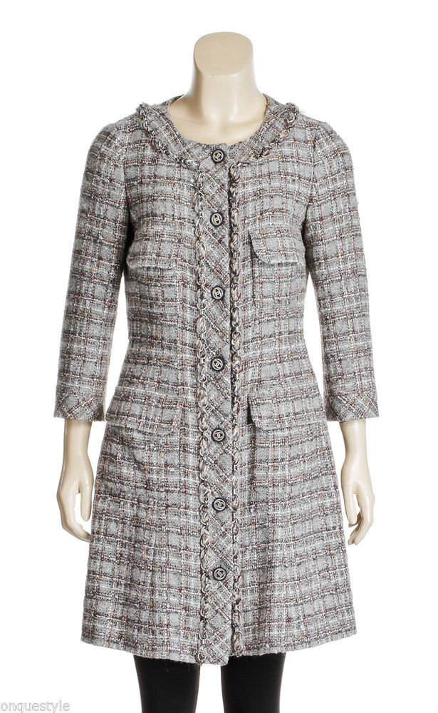 Chanel Gray Multicolor Plaid Tweed Chain Link Coat (Size 40)