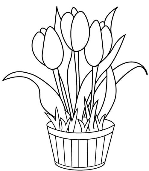 Lale Boyama 1 Jpg 498 572 Flower Coloring Pages Printable Flower Coloring Pages Birthday Coloring Pages