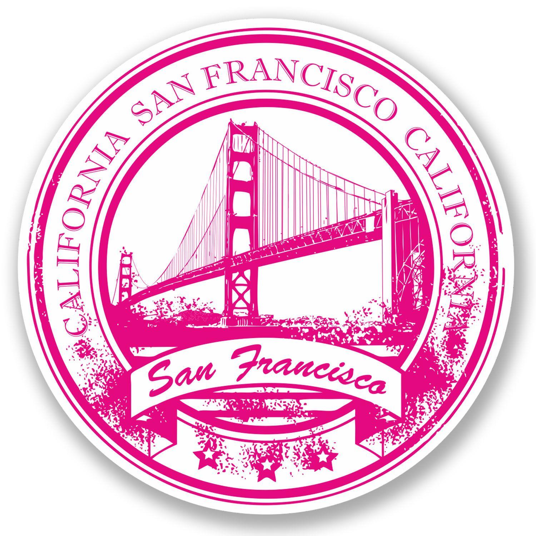 2 X 10cm San Francisco Vinyl Sticker Luggage Travel Tag California