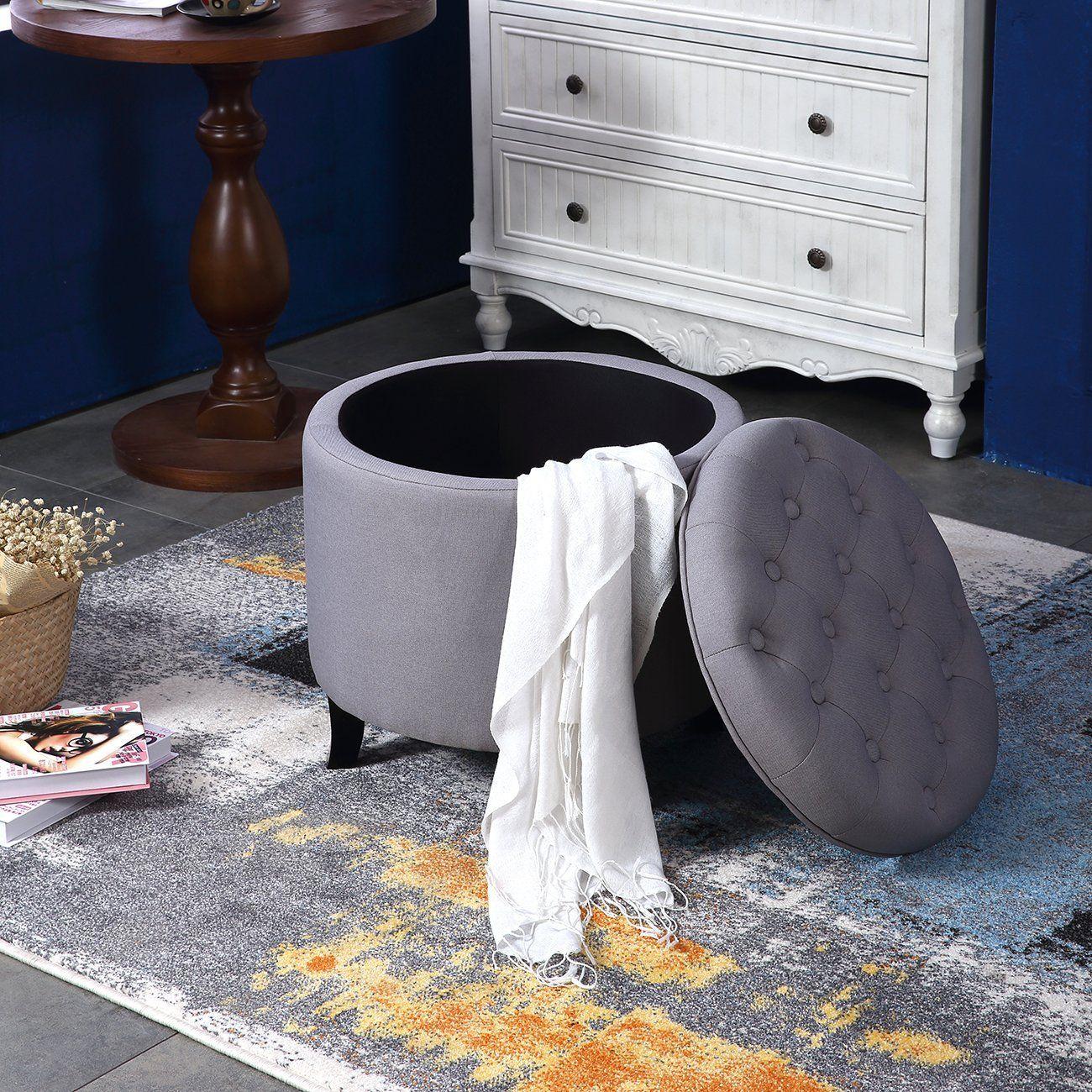 Tremendous Belleze Nailhead Round Tufted Storage Ottoman Large Footrest Uwap Interior Chair Design Uwaporg