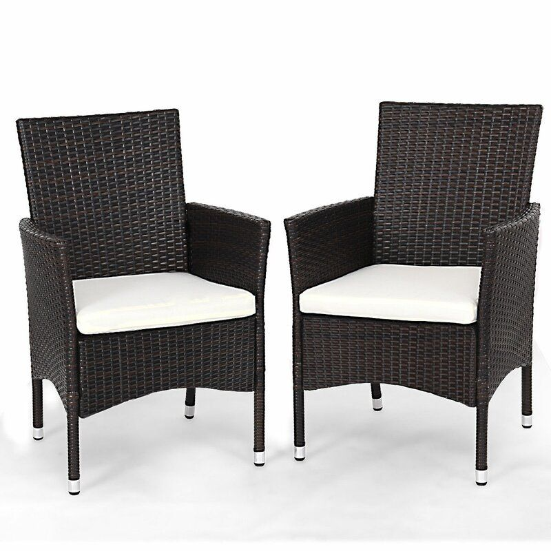 Anaid Rattan Wicker Patio Chair With Cushions In 2020 Wicker Dining Chairs Wicker Patio Chairs Outdoor Dining Chairs