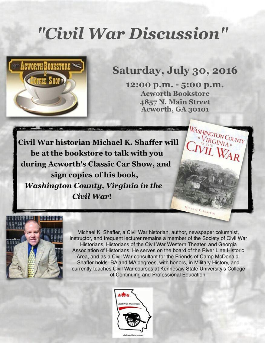 Visit the Acworth Bookstore tomorrow! #civilwar
