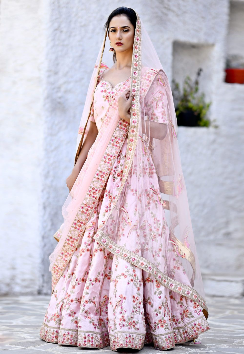 bf9890565e Buy Light Pink Silk Circular Lehenga Choli 160682 online at best price from  vast collection of Lehenga Choli and Chaniya Choli at Indianclothstore.com.