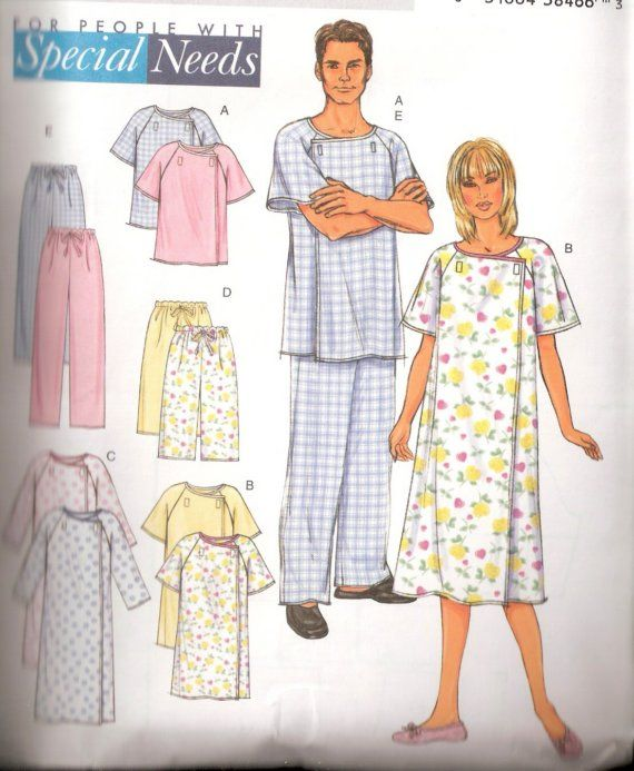 Unixex Hospital Gown With Velcro Fasteners Sewing Pattern Xs M