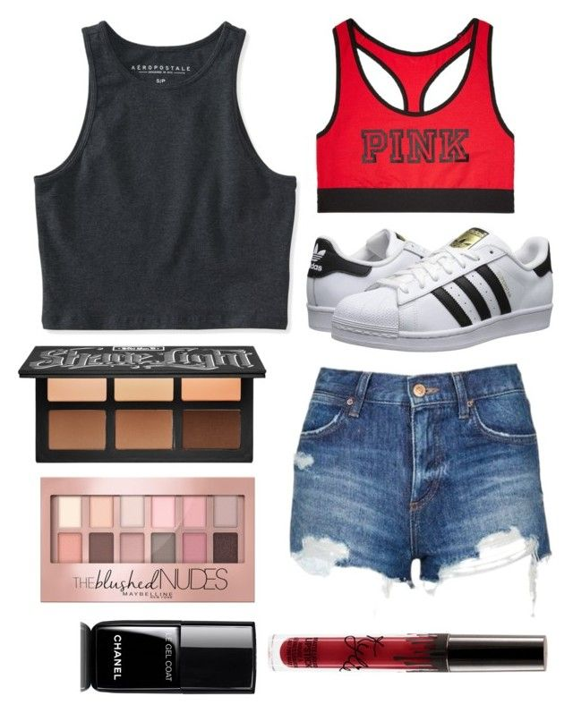 """Untitled #58"" by jemimacummings on Polyvore featuring adidas Originals, Topshop, Aéropostale, Victoria's Secret, Chanel, Maybelline and Kat Von D"