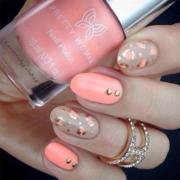Melón y dorado | uñas coral con dorado | Pinterest | Uñas coral y Coral