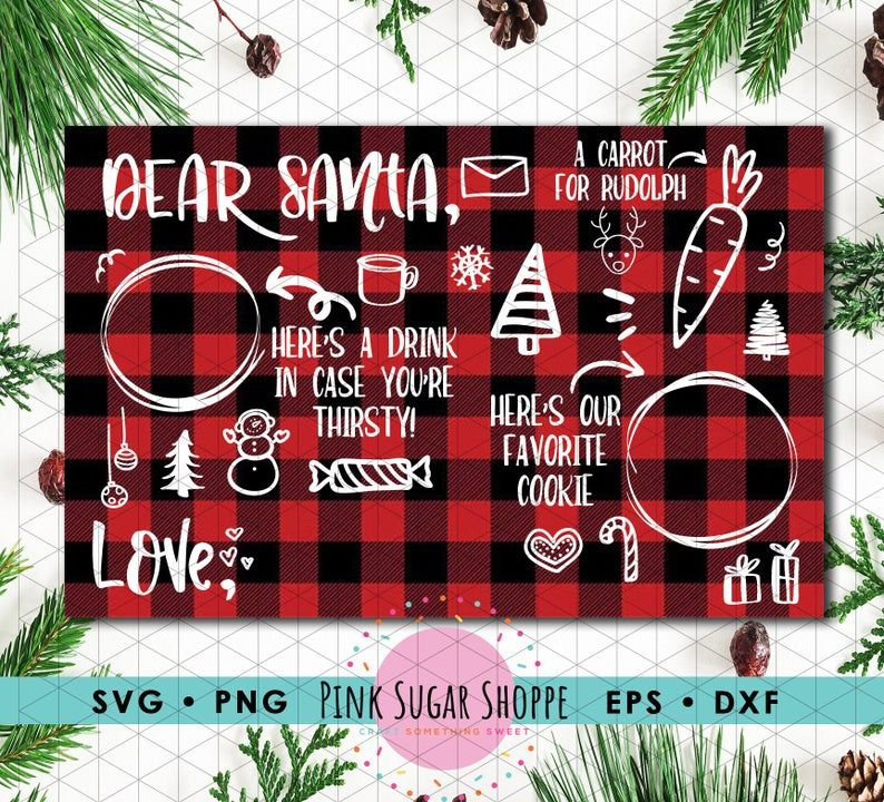 Santa's Tray, Milk for Santa, Cookies Milk For Santa, Dear