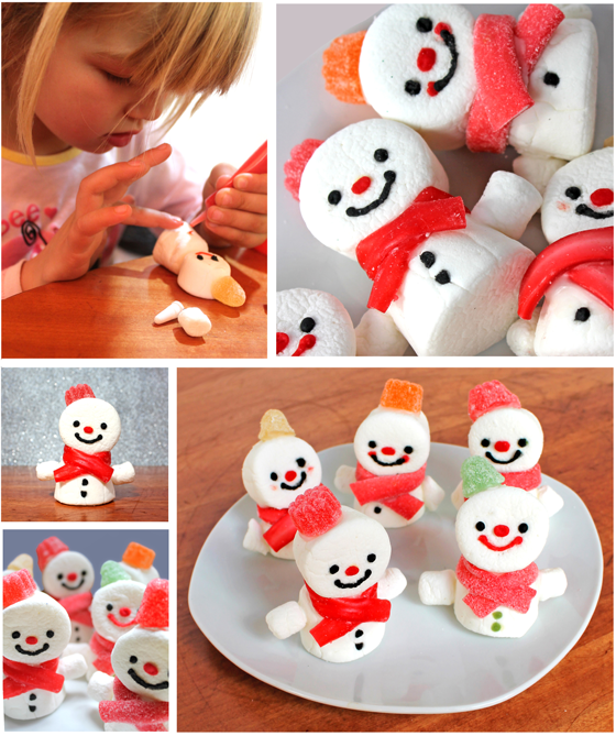 Simple photo tutorial on how to make marshmallow snowmen. Need some cute festive food decorations? Fun art project ideas for a class or homeschool activity?