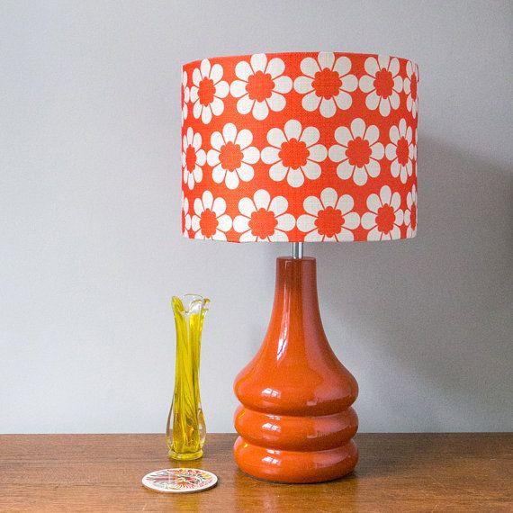Vintage Flowers Burnt Orange Ceramic Table Lamp Available January 2021 Retro Table Lamps Ceramic Lamp Base Red Table Lamp