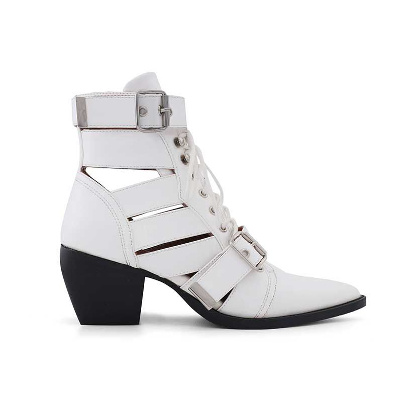 White KUNIX Cut Out Biker Ankle Western Cowboy Boots - Patent Leather | Biker Boots