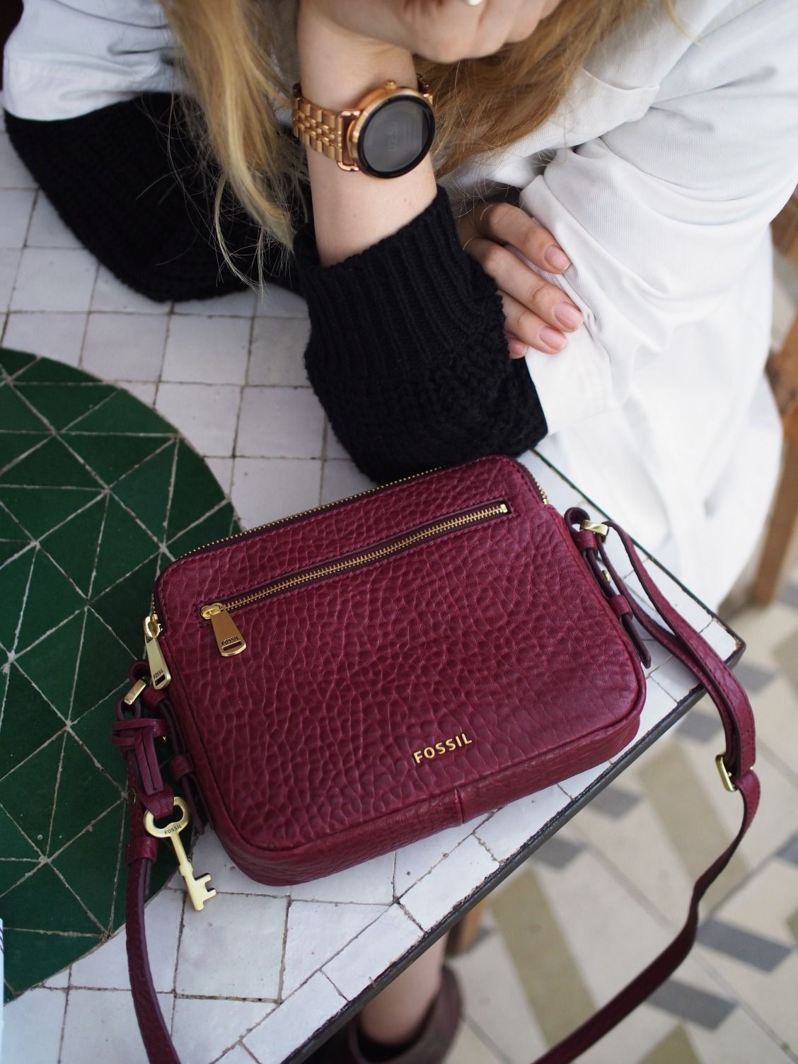 bdb6246c9a The rose gold Q Wander display smartwatch and the wine leather Piper  crossbody are a match made in heaven. via   taylranne