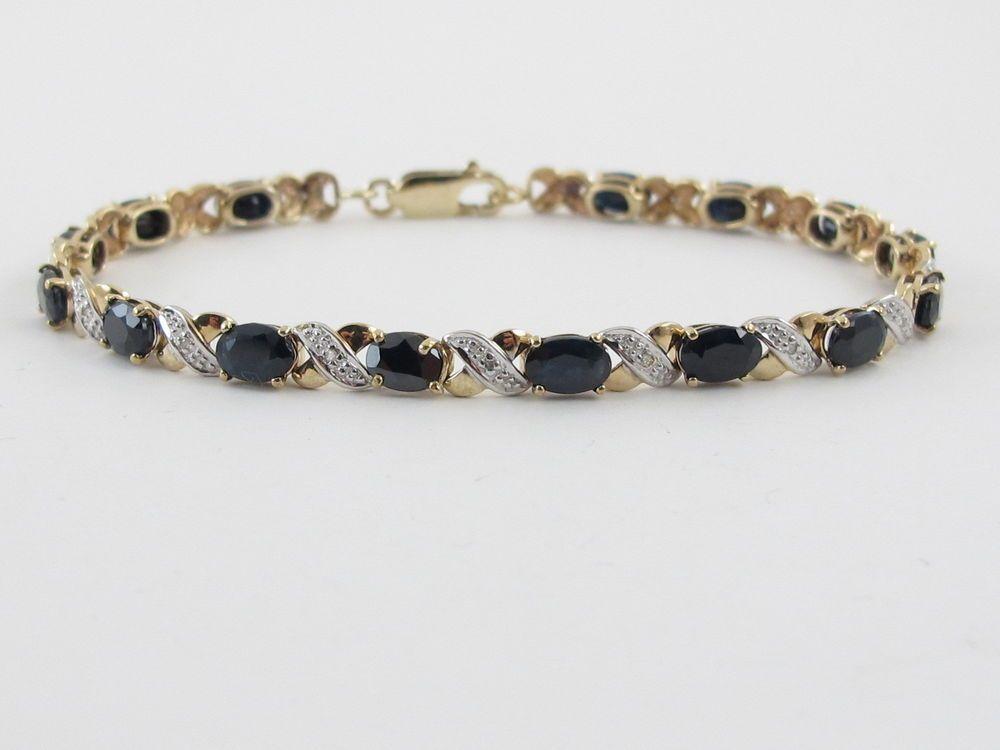 10k Yellow Gold X O Link Diamond And Sapphire Tennis Bracelet 7 1 2 7 5 Carats Preciousgold4you Tennis Bracelets Fine Jewelry Jewelry