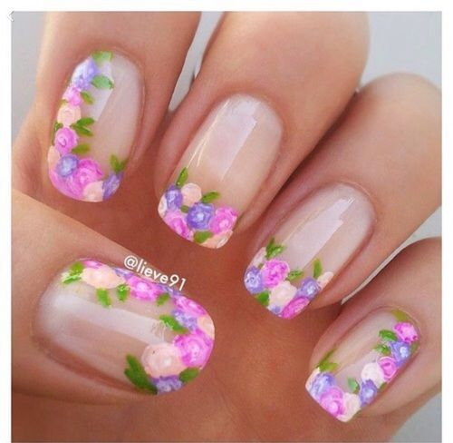 Clear Floral Nails Flower Nails Floral Nail Art Floral Nails