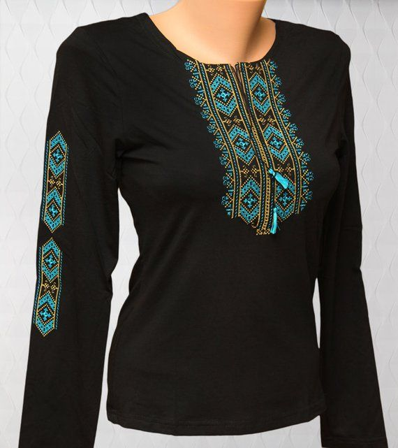 5ddd9ef8b8a Black women's t-shirts with embroidered ornaments. Black vyshyvanka.  Embroidered