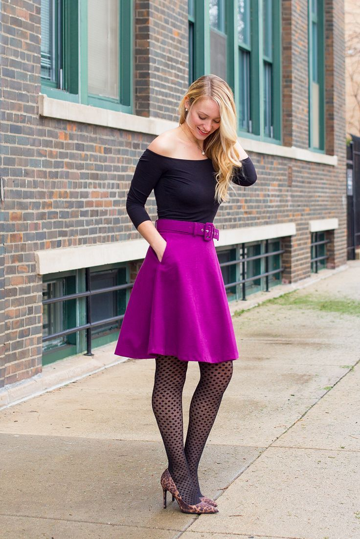 purple skater skirt off the shoulder top polka dot tights outfit winter  outfit winter work outfit 18c0f1c4c