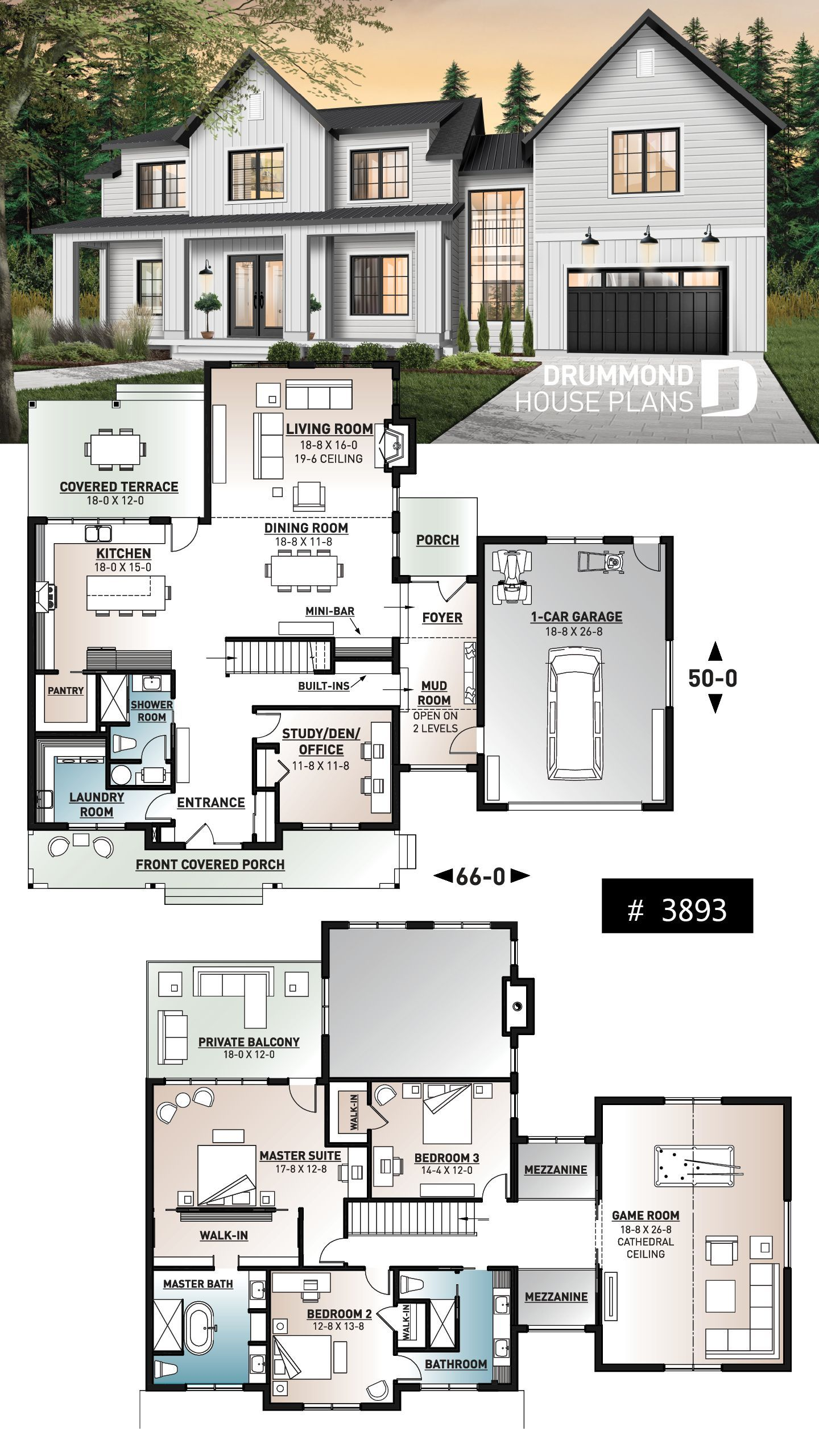 Photo of 4 bedroom modern farmhouse plan, 3 baths, garage, spectacular living room with f…