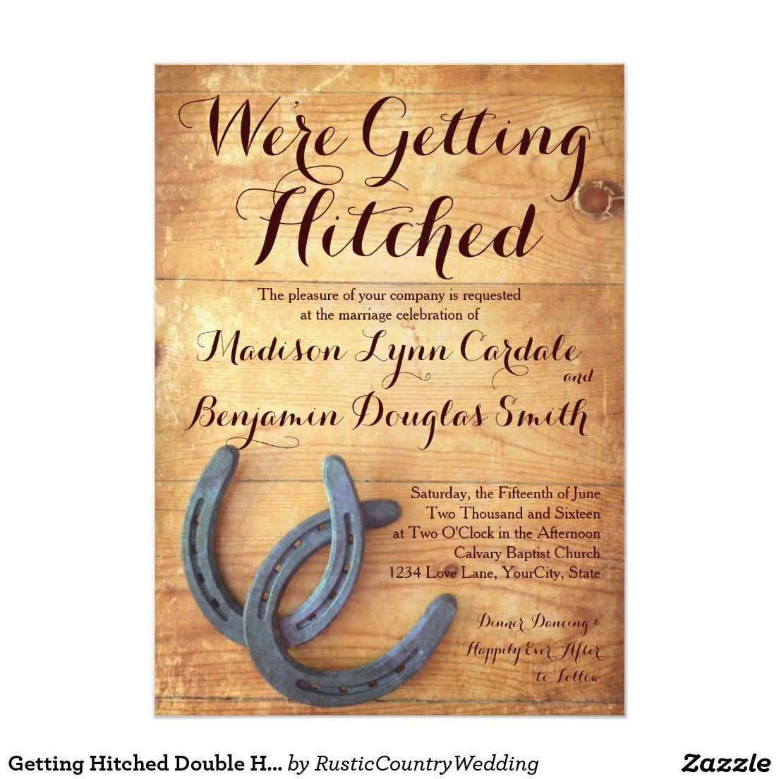 Getting Hitched Double Horseshoe Wedding Invites Wedding