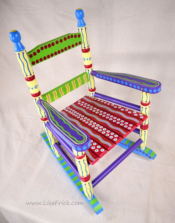 Hand Painted Child S Rocking Chair Bright Colorful And