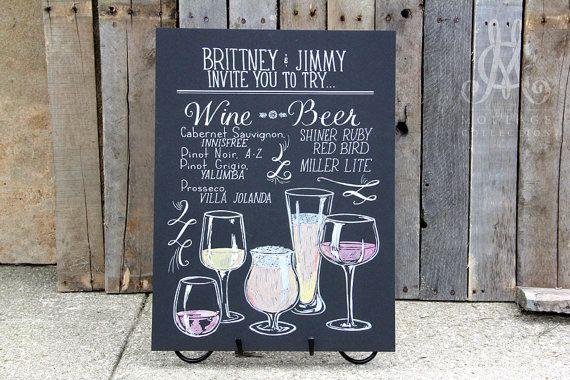 Wine and beer menu for wedding bar custom by for Wine chalkboard art